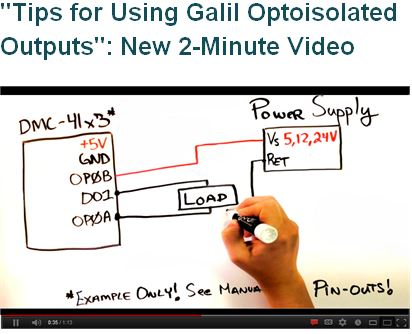 Tips for using Galil Optoisolated Outputs Video
